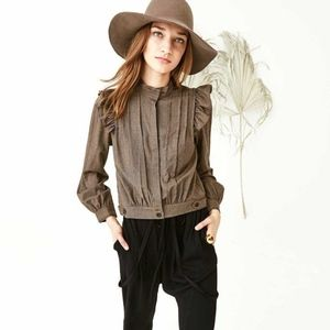 Ulla Johnson Wool Brown Dagne Check Italian Jacket